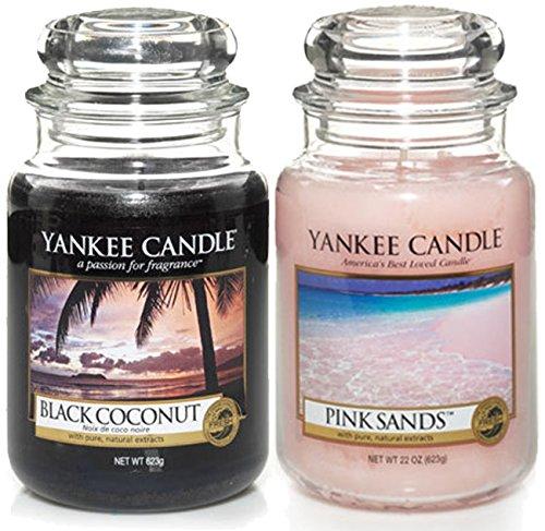 Set di 2 candele originali Yankee Candle nel tradizionale barattolo (formato grande) - Fragranze: Black Coconut e Pink Sands (Cocco Nero e Sabbia Rosa)