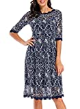 Women's 1950s Vintage Floral Lace Half Sleeve Formal Cocktail Party Casual Swing Dress 595 (XL, Blue White)