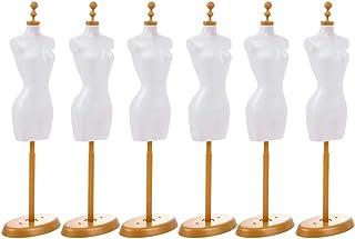 Artibetter 6 Piezas Vestido de Muñeca Forma Mini Vestido de Maniquí Forma Ropa Vestido Modelo de Exhibición Soporte para D...