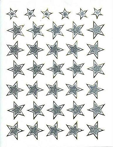 (シャシャン)XIAXIN 防水 ラメ PVC製 スター 星 ステッカー セット 耐候 耐水 STAR キャラクター ごほうび スーツケース ネームプレート 目印 ロッカー 屋内外 兼用 TSS-602 (シルバー)
