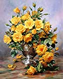 ABEUTY DIY Paint by Numbers for Adults Beginner - Yellow Flower in Vase 16x20 inches Number Painting Anti Stress Toys (No Frame)