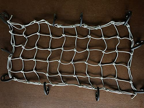 """Mockins Gray Heavy Duty 20"""" X 36"""" Bungee Cargo Net Stretches to 42"""" X 74"""" The Cargo Carrier Net Comes with 10 Hooks and can be Used with Any Car or Van SUV and Truck -  MA-GRY-CNET-60"""