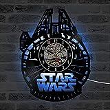 luz nocturna led control remoto reloj de registro de halcón milenario vinilo led cd arte hecho a mano hueco creativo reloj de pared clásico antiguo reloj de pared lámpara de mesa de limón