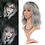 FAELBATY Grey Wigs With Bangs Women's ombre grey Bob Wig Synthetic Cosplay Wig for Girl Costume Wigs (12' Dark Root ombre grey)