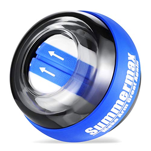 Summermax Auto-Star Wrist Power Gyroscopic Ball,Wrist Strengthener and Forearm Exerciser for Stronger Arm Fingers Wrist Bones and Muscle (Auto Blue)