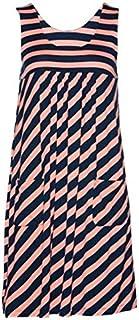 Fashion striped dress large size summer dress loose simple sleeveless dress women's clothing brand:TONWIN (Color : Orange, Size : 5XL)