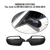 LY-QCYP Autospiegelabdeckungen, passend für Audi A5 S5 RS5 2010-2015 & A4 S4 B9 2013-2015 Ersatz-Kohlefaser-Rückspiegel-CF-Abdeckungen (1 Paar, ohne Seitenspurassistent)