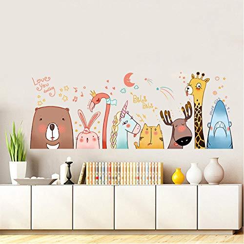 GVFTG Super Leuke Animal Avatar Cartoon Muurstickers Hert Flamingo Eenhoorn Beer Konijn Kat Haai Kids Kamer Skirting Taille Lijn Decals 60X90cm