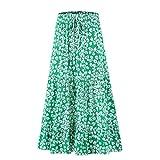 ForeMode Women's Boho Floral Print Elastic High Waist Pleated A Line Midi Skirt (Green-White, Small)