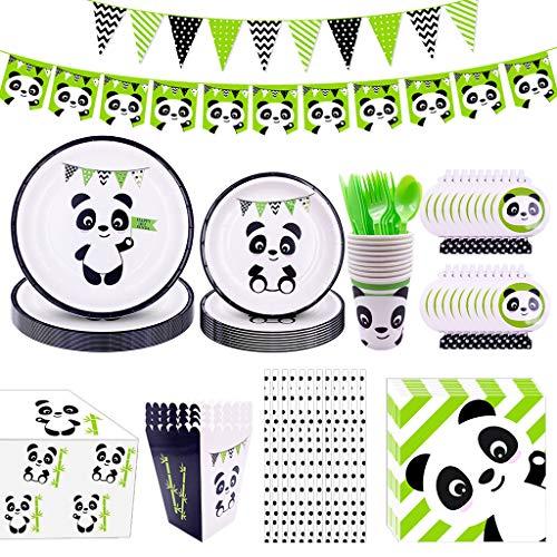 Amycute 115 Piezas 16 Niños Decoración de Fiesta de Panda, Vajilla de Panda Fiesta de Cumpleaños Vasos Platos para Cumpleaños de Niños, Fiesta Deco, Baby Shower, Juego de Fiesta Temática Panda