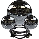 HAIHAOYF 7'LED FIGURO DE Moto, 4.5' Luz Que Pasa, para Piezas de Motocicletas universales (Color : Black Set)