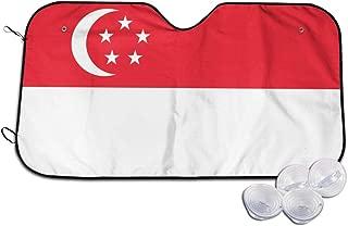 JUNIY Singapore Flag Universal Car Windshield Sun Shade Patterned Truck Sun Visor Protector SUV Heat Reflector