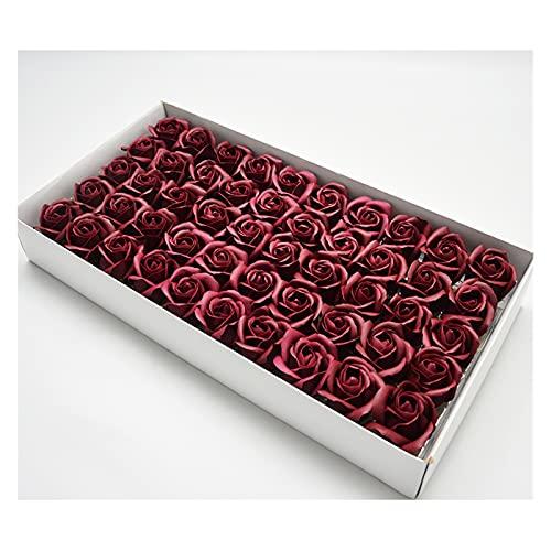 SZBLYY Cabezas Flores 50 unids Artificial Flor perfumado Rosa Flor de jabón pétalo bañera Cuerpo jabón Rosa Flor romántico Sabor Regalo de Fiesta de Boda (Color : Deep Red)