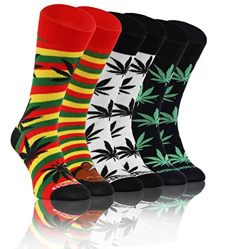 Sesto Senso Lustige Bunte Verrückt Socken Baumwolle Damen Herren 3 Pack Gemusterte Ungleiche Funny Socks Oddsocks Marihuana Blatt Rastaman 39-42 3 Afro