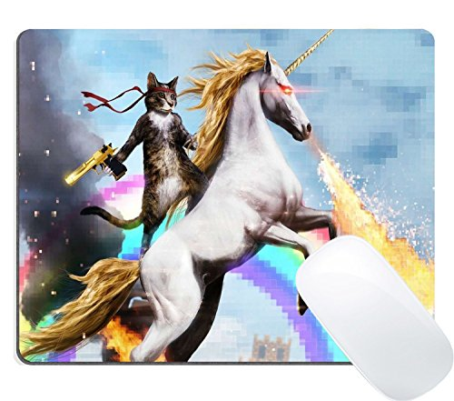 Wknoon Gaming Mouse Pad Custom, Funny Cute Cat Dressed as Rambo with Gold Gun Riding a Glowing Fire Breathing Rainbow Unicorn