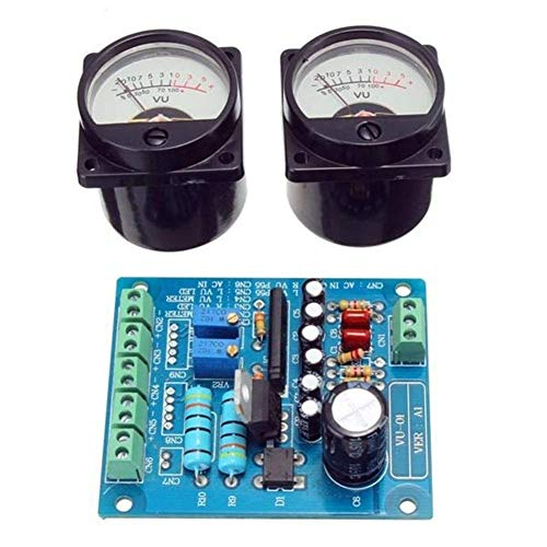 BRIGHTZ Auto-installing Combination 2Pcs VU Meter Warm Backlight Recording + Audio Level Amp With Driver Board