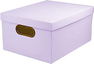 PROTÊA 2192 Caixa Organizadora Linho Média, 20,39 Litros, 380 x 290 x 185 mm, Lila (Pastel)