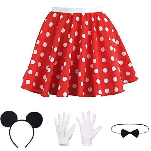 Hook Rock Punkte Rot Weiß, Tellerrock Kostüm Rockabilly 50er Jahre Gepunkteter Rock, Rock-n Roll Karneval Kostüm für Damen, mit Maus Ohren, Schleife und Weiße Handschuhe (M)