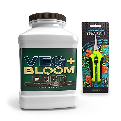 Veg+ Bloom Dirty Formulated Nutrient Powder for Soil and Peat -1lb with Common Culture Trimming Scissors