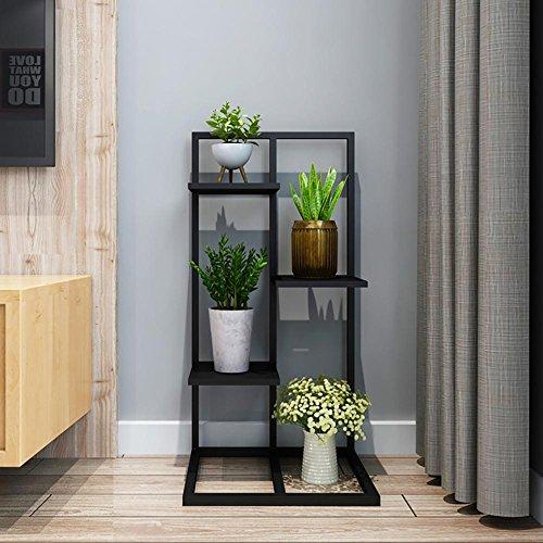 LLLXUHA Art de fer Multi-couche métal Support de fleurs, intérieur salon Type de plancher Cadre de bonsaï, balcon Plantes charnues Présentoir , Black , 40*35*80cm