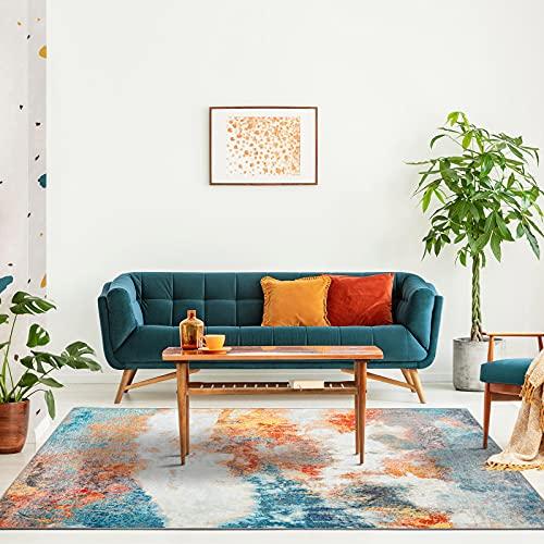 Decomall Waltz Alfombra moderna abstracta, para salón, multicolor, naranja, 160 x 230 cm