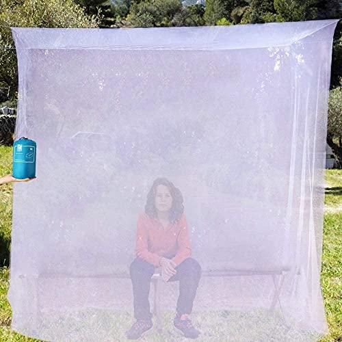 EVEN NATURALS Luxus MOSKITONETZ Einzelbett, Mückennetz für Bett, feinste Löcher, rechteckiges Camping Netz, Insektenschutz Etagenbett, 1 Eintrag, einfache Anbringung, Tragetasche, Keine Chemikalien