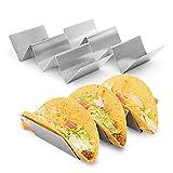 2 Stück Stilvoller Edelstahl Taco Halter Stand, Taco Behälter Art, Zahnstangen Griffe Backofen