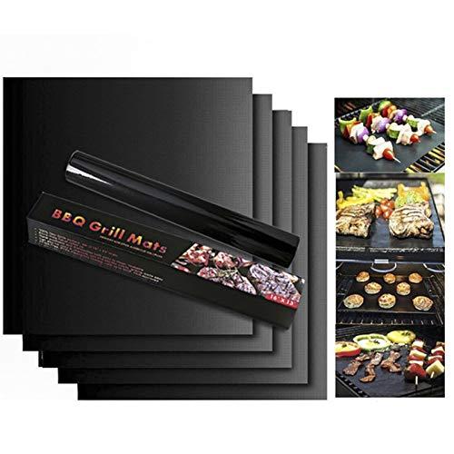 Grillmatte (5er Set), Grillmatten aus Grillen und Backen Anti Haft für bis 260°C, Perfekt für Backmatte für BBQ, Barbecue, Kohlegrill, holzkohlegrill,Holzkohle - Gasgrill, Elektro Grill