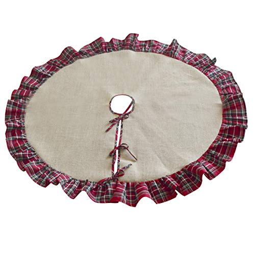 SORRENTO Jute Burlap fabric Christmas Tree Skirt Diameter Plaid fabric Ruffler Border Decoration 60inch