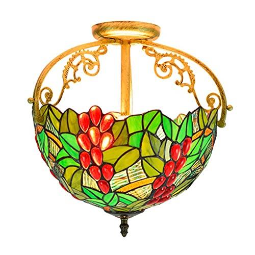Lámparas colgantes de techo con cuentas de cristal estilo tiffany, uva pastoral europea, lámpara colgante de techo de vidrio manchado de 12 pulgadas para dormitorio, sala de estar, Cocina,B