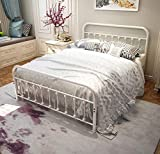 White Metal Bed Frame Queen Size with Headboard and Footboard Single Platform Mattress Base,Metal Tube and Iron-Art Bed(Queen,Grayish White)