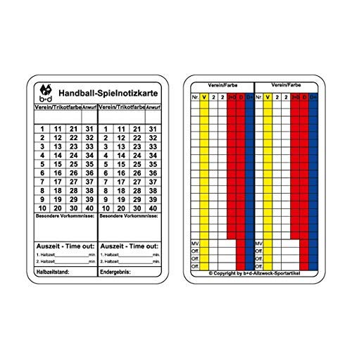 b+d Spielnotizkarten Handball 250 Stück