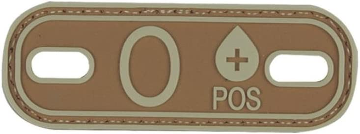 "PVC Morale Patch Coyote Tan 2.75/"" x 1/"" Blood Type A Neg Negative Velcro Patch"