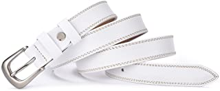 Women's Belt Leather Waist Belt for Women with Classic Polished Alloy Buckle Pants (Color : White)