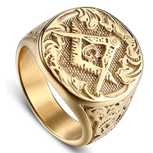 FLQWLL Punk Gold Acero Inoxidable AG Freemason Ring Moda Retro Hombres Regalo Tamaño 8-13,10