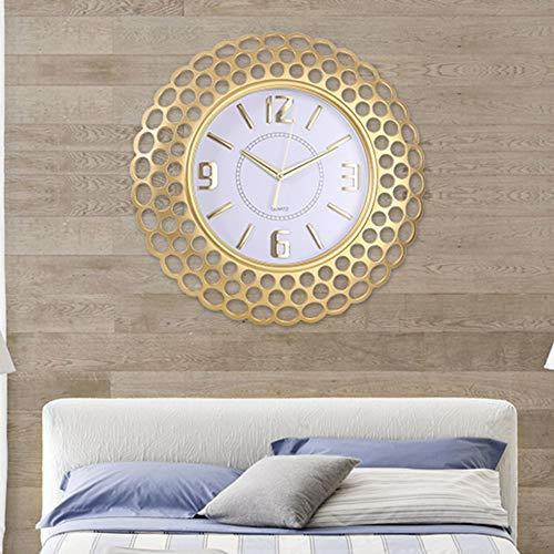 XFSE Reloj de pared dorado estilo nórdico reloj de pared reloj de pared para sala de estar, hogar, dormitorio, simple y moderno, reloj de cuarzo silencioso, creativo de pared con colgante de 52x52cm