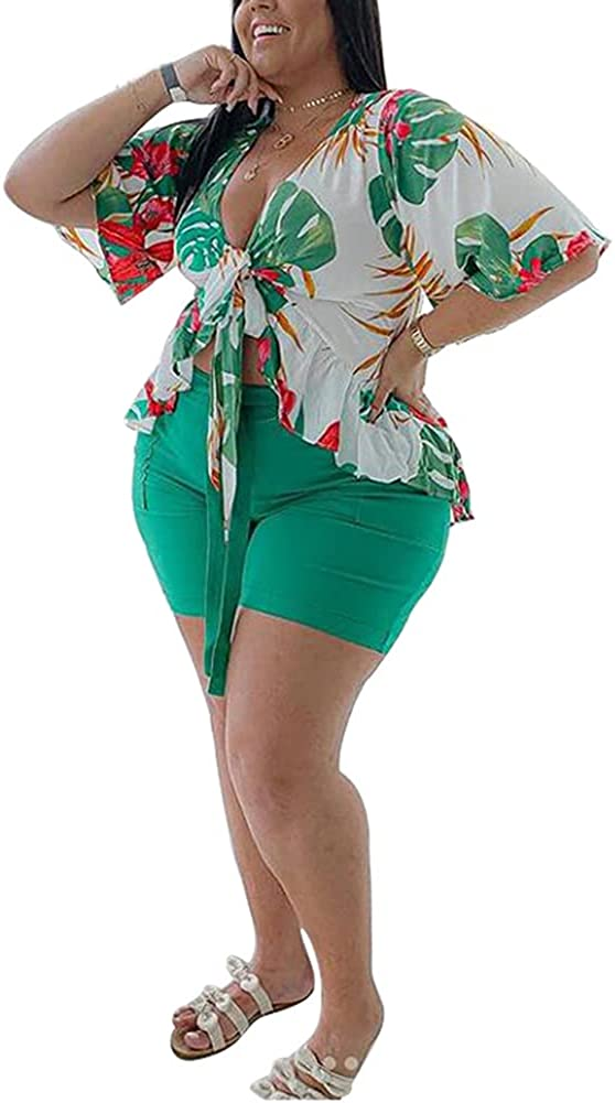 Plus Size 2 Piece Outfits for Women Summer Boho Ruffle Crop Top Shorts Set Floral Print Beach Cover Up