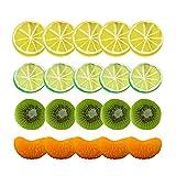 JIAN 20pcs / Set Artificial Fruta simulación de limón rodajas Kiwi Navidad Fruta Ornamento Cocina Boda Falsa decoración de limón Suministros Exquisite (Color : 20Pcs)