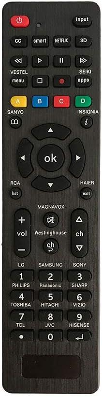 SHENYY Universal Remote for Samsung,LG,Sony,Sharp,Vizio,Philips,Toshiba,Hitachi,RCA,Sanyo,JVC,TCL,Hisense,Vestel,Seiki,Insignia,Magnavox,haier,Panasonic,Smart TVs—Simple Settings Required