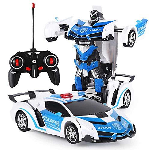 Womdee Coche Teledirigido, Coche RC Radiocontrol Transforme Car Toys, 360 Grados Giratorio con Deformación de un Botón con luz LED, Robot Cars Kit Toy para niños