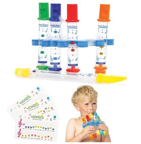 5 WATER FLUTES + MUSIC SONG SHEETS. KIDS TOY BATH TIME CHILDRENS FUN INSTRUMENT by Fairtrade