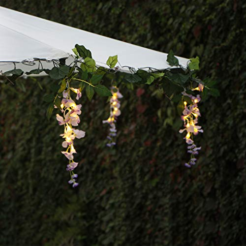 Solar String Lights Outdoor, 33.6FT Garden Fairy Lights with 60 Warm White LED, 6 Clusters Artificial Wisteria and 6 Grapevines Flower Lights Perfect for Home Garden Party Parasol Wedding Decorations