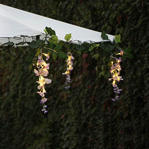 Solar Lichterketten im Freien, 33,6 FT Patio Lichterketten mit 60 warm weißen LED, 6 Cluster Glyzinien Blumen und 6 Weinreben Blumenlichter Perfekt für Hausgarten Hochzeitsfeier Regenschirm Dekor