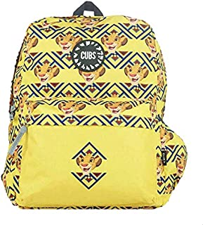 Cubs Polyester Simba Pattern Zip-Around Front-Pocket Unisex School Backpack with Adjustable Shoulder Strap - Yellow