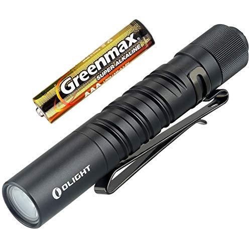 Olight I3T EOS EDC Taschenlampe 180 Lumen / 60 Meter tragbare Taschenlampen Dünne kleine Taschenlampe mit zwei Ausgängen, mit AAA-Batterie und BanTac Batteriegehäuse (Schwarz)