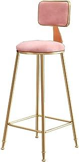 LJFYXZ Bar Stool Modern Simplicity Kitchen bar bar Chair Pink Velvet Dining Chair Golden Metal Legs High Stool Bearing Weight 200kg Seat Height 45/65/75cm (Size : 65cm)