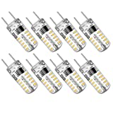 G8 LED Bulb Dimmable, G8 Bi-Pin Base with 2 Watt Warm White 3000K, Equivalent to 20W G8 Halogen Bulb for Under Counter Kitchen Lighting and Cabinet Puck Light AC 120V - Pack of 8