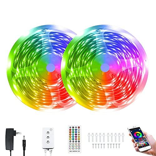 65.6 FEET Music SYNC LED Strip Lights,Hedynshine RGB Light Strips 24V 44key Remote Controller