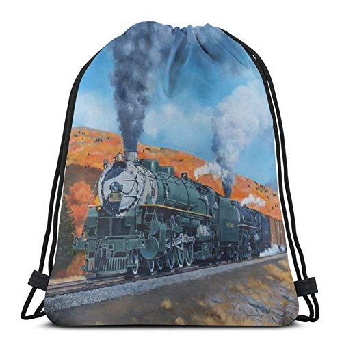 jingqi Aquarell Dampfzug Und Eisenbahn Sport Cinch Pack,Sporttaschen Drucken,Gymsack,Kordelzug Taschen,Reisesackpack,Leichter Turnbeutel