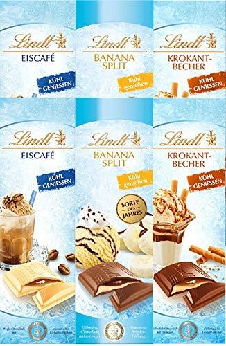 Lindt Banana Split Eiscafe und Krokant Becher Vollmilch Schokolade 100 gr. x 6